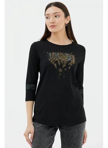 Sementa Truvakar Kol Taş Detaylı Bluz - Siyah Siyah